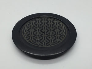 Incense Stick Ash Catchers - Black Round Flower Of Life