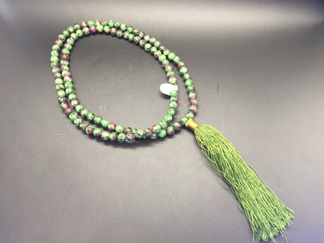 Necklace - Mala Beads - Ruby in Zoisite