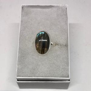 Labradorite Oval Adjustable Ring