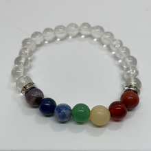 Load image into Gallery viewer, 7 Chakras & Clear Quartz Bracelet
