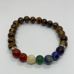 7 Chakras & Gold Tiger Eye Bracelet