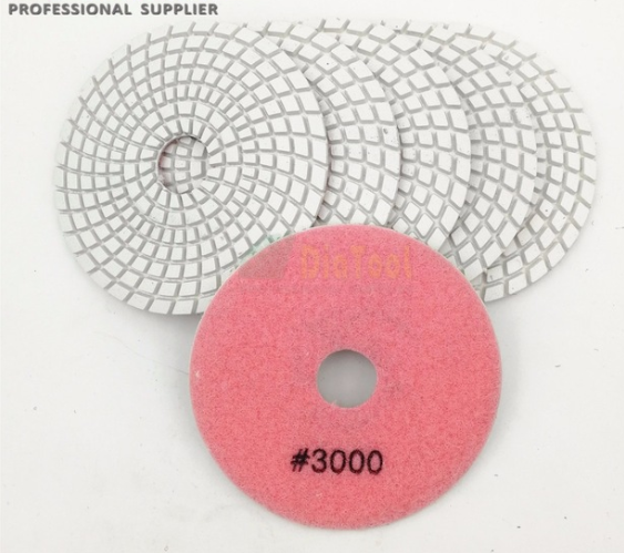 4'' 50-3000 Grit Wet/Dry Diamond Polishing Pads for Granite, Quartz, Concrete, Marble Polish