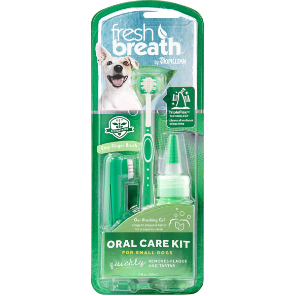 TropiClean Fresh Breath Oral Care Brushing Kit Small Dog 2oz