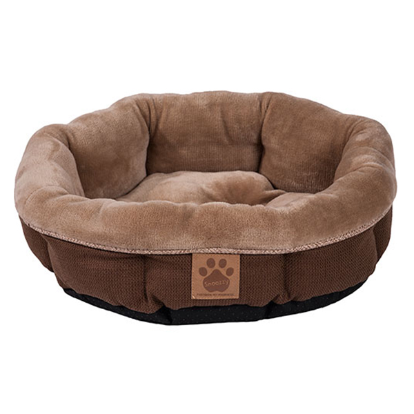 Rustic Elegance Round Shearling Bed - Brown