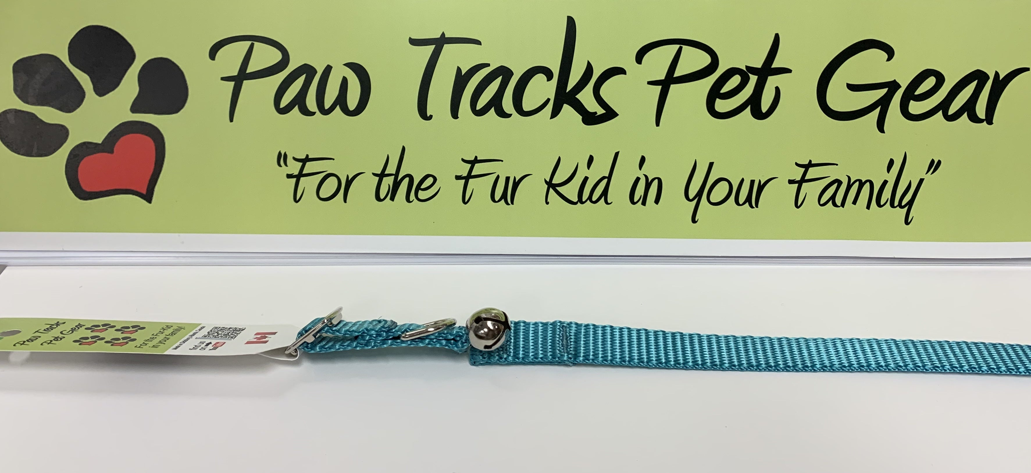 """1/2"""" Cat Collar with Bell (8-12"""") - Teal"""