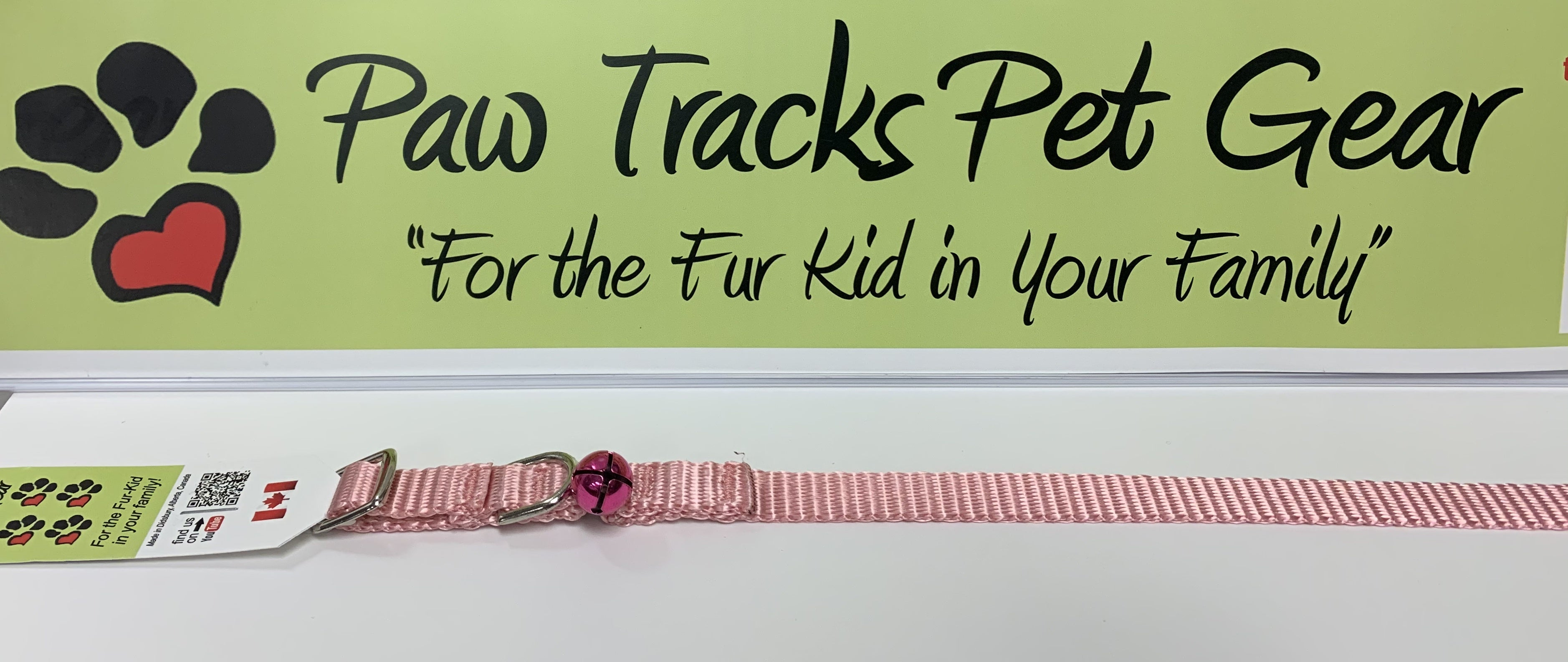 """1/2"""" Cat Collar with Bell (8-12"""") - Pink"""