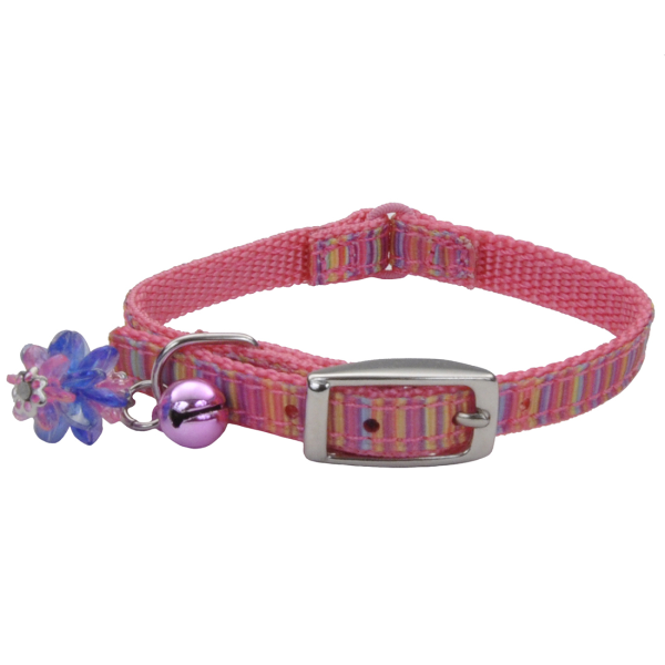 Kitten Ribbon Safety Collar Pink Stripe