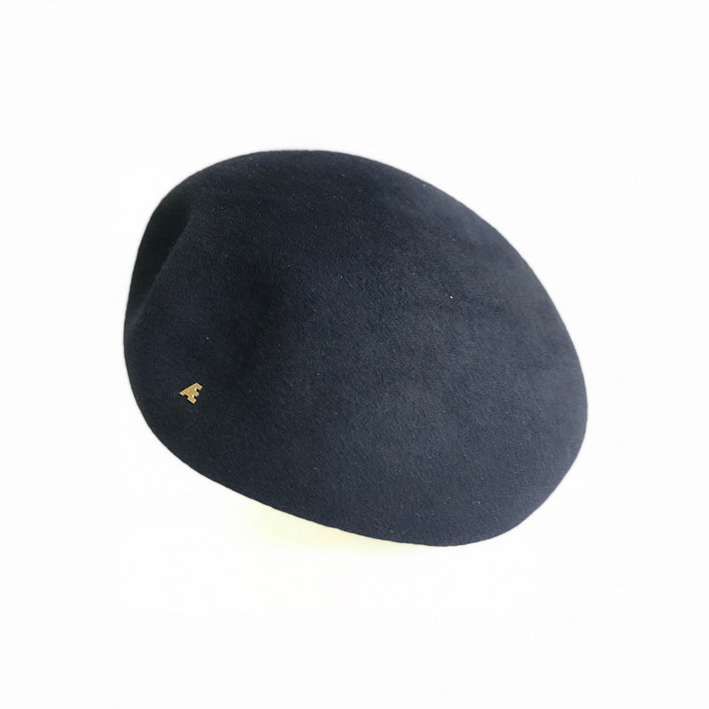 Black designer beret hat for women