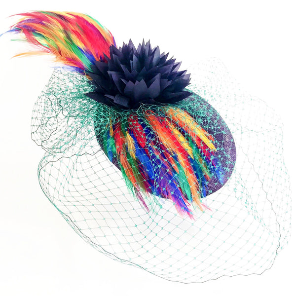 Fascinator hat black flower green
