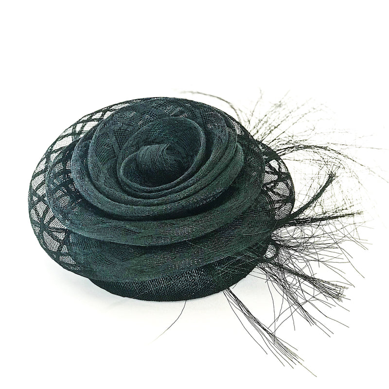 Fashion hat black flower crin