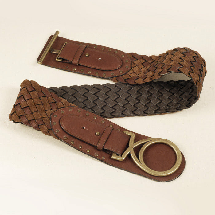 Plaited Suede & Leather Belt