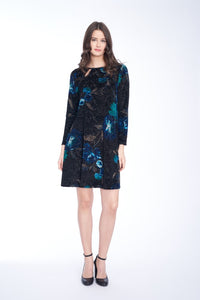 KEY HOLE VELOUR DRESS IN MULTI BLUE