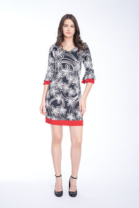 RED TRIM BELL SLEEVE BLACK AND WHITE  DRESS