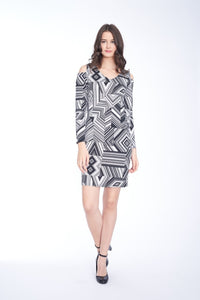 COLD SHOULDER DRESS IN GEO BLACK AND WHITE