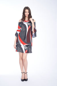 BELL SLEEVE A-LINE  DRESS IN MULTI RED