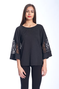 LACE ACCENT TEXTURED TOP IN BLACK