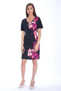 Floral Mesh-Sleeve Sheath Dress