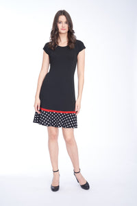 Polka Dot Contrast-Hem A-Line Dress