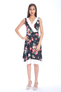 Asymmetric Surplice Floral Dress