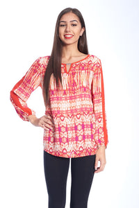 KEY HOLE CHIFFON TOP IN RED MULTI