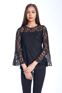 BELL SLEEVE LACE TOP IN BLACK