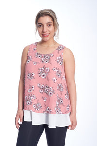 Layered Floral Chiffon Top
