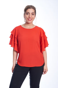Layered Sleeve Chiffon Top