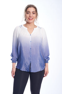 Button Front Gradient Blouse