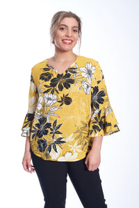 Ruffle Sleeve Floral V-Neck Top