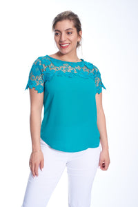 Lace Accent Chiffon Top