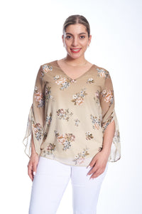 Floral V-Neck Chiffon Top