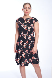 Key Hole Floral A-Line Cap Sleeve Dress