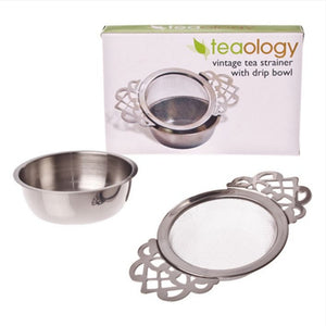 Teaology Vintage Tea Strainer with drip bowl