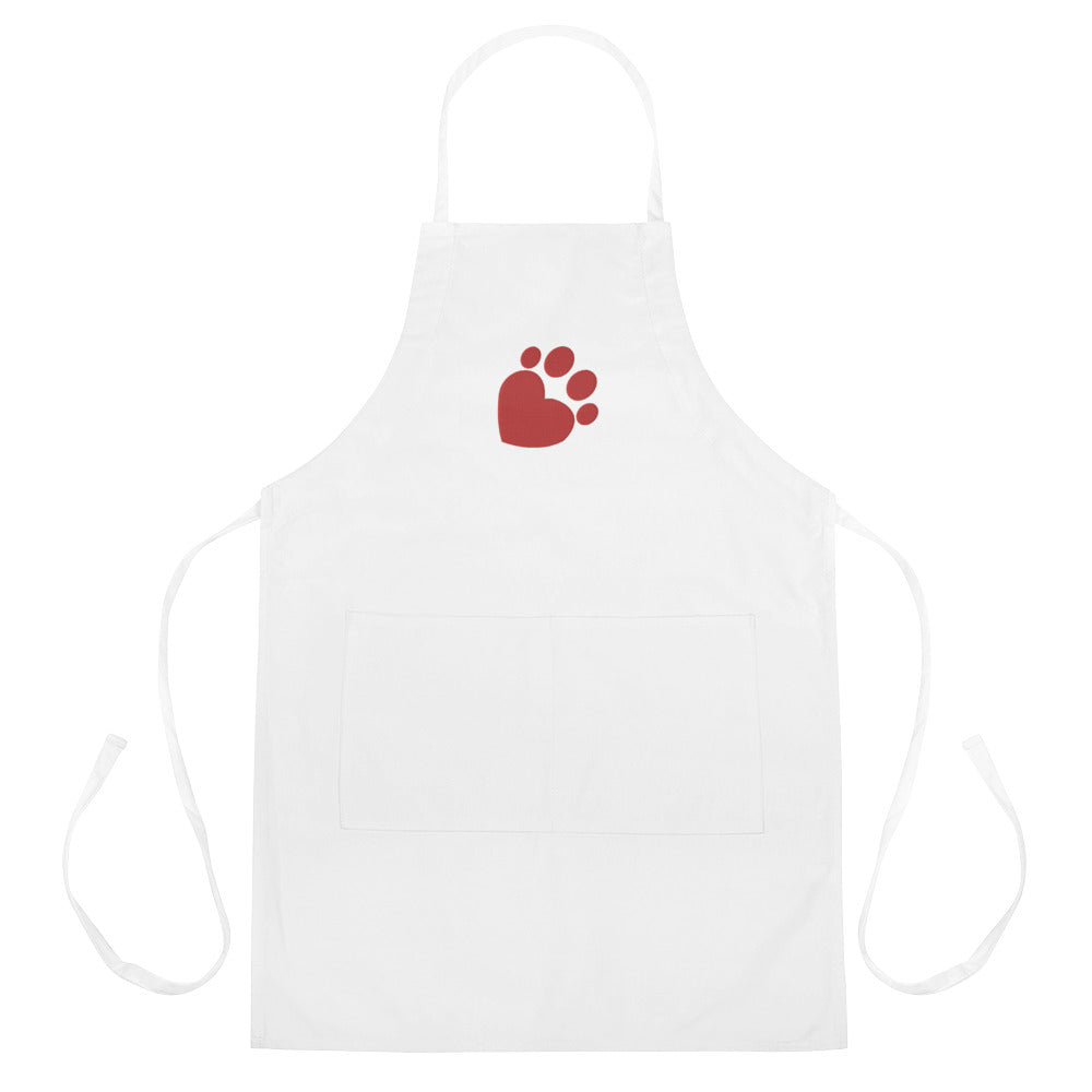 Embroidered Love Paw Apron