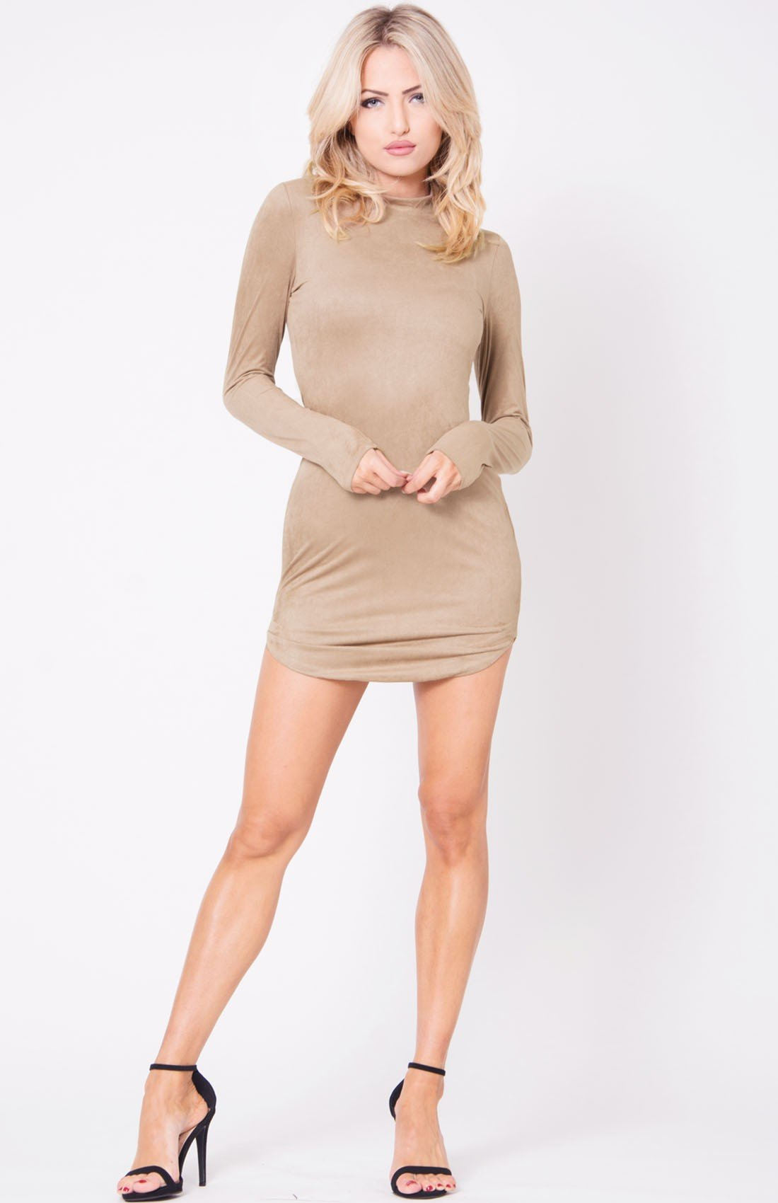 LONG SLEEVE MOCK NECK SUEDE MINI DRESS