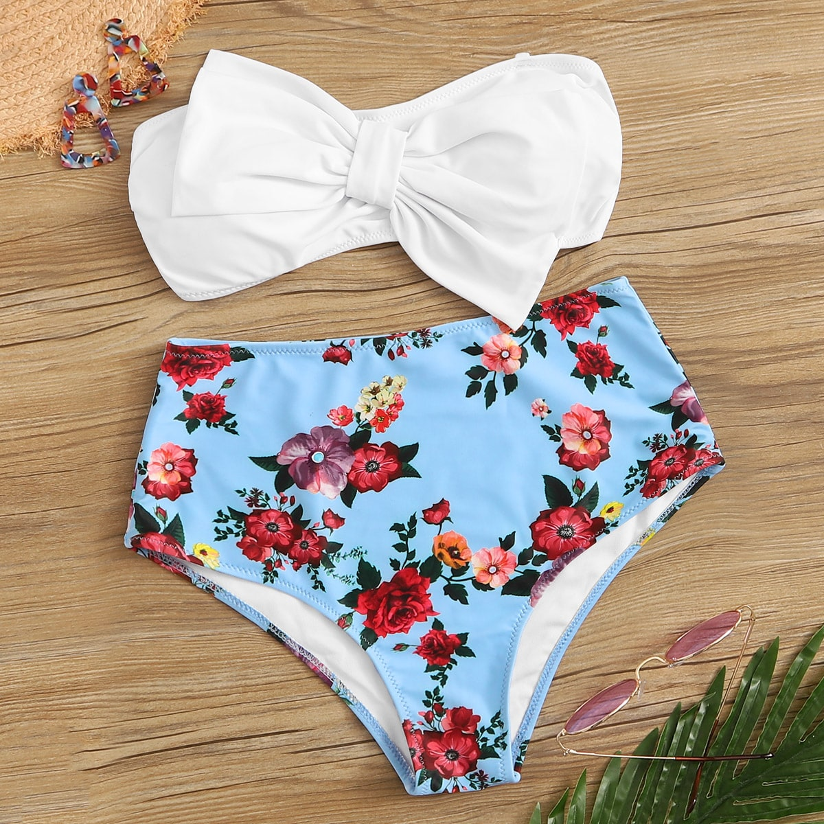Bow Front Bandeau With Floral Bikini Set