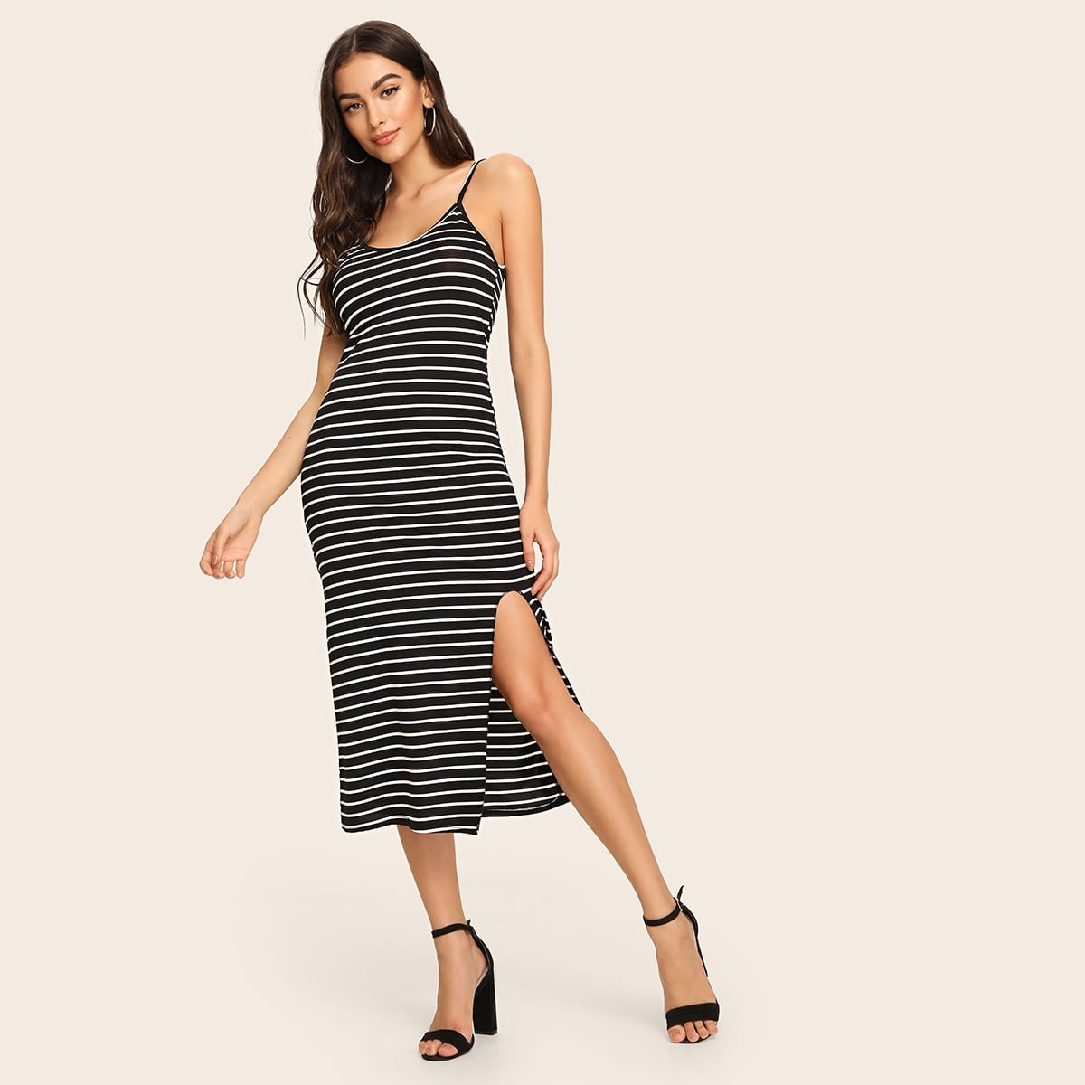 Striped Print Split Thigh Midi Slip Dress