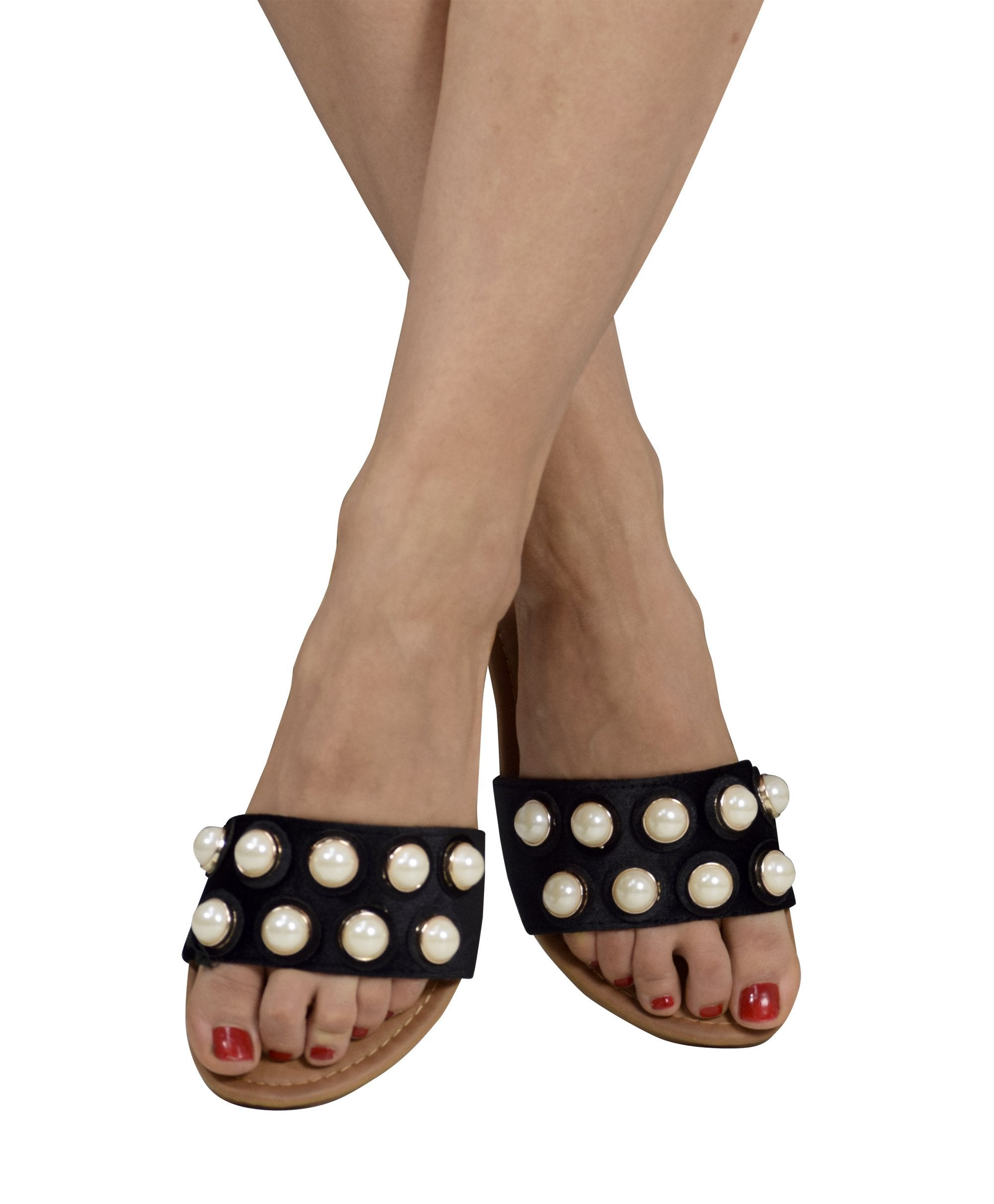 Womens Pearl Studded Sandals Slides