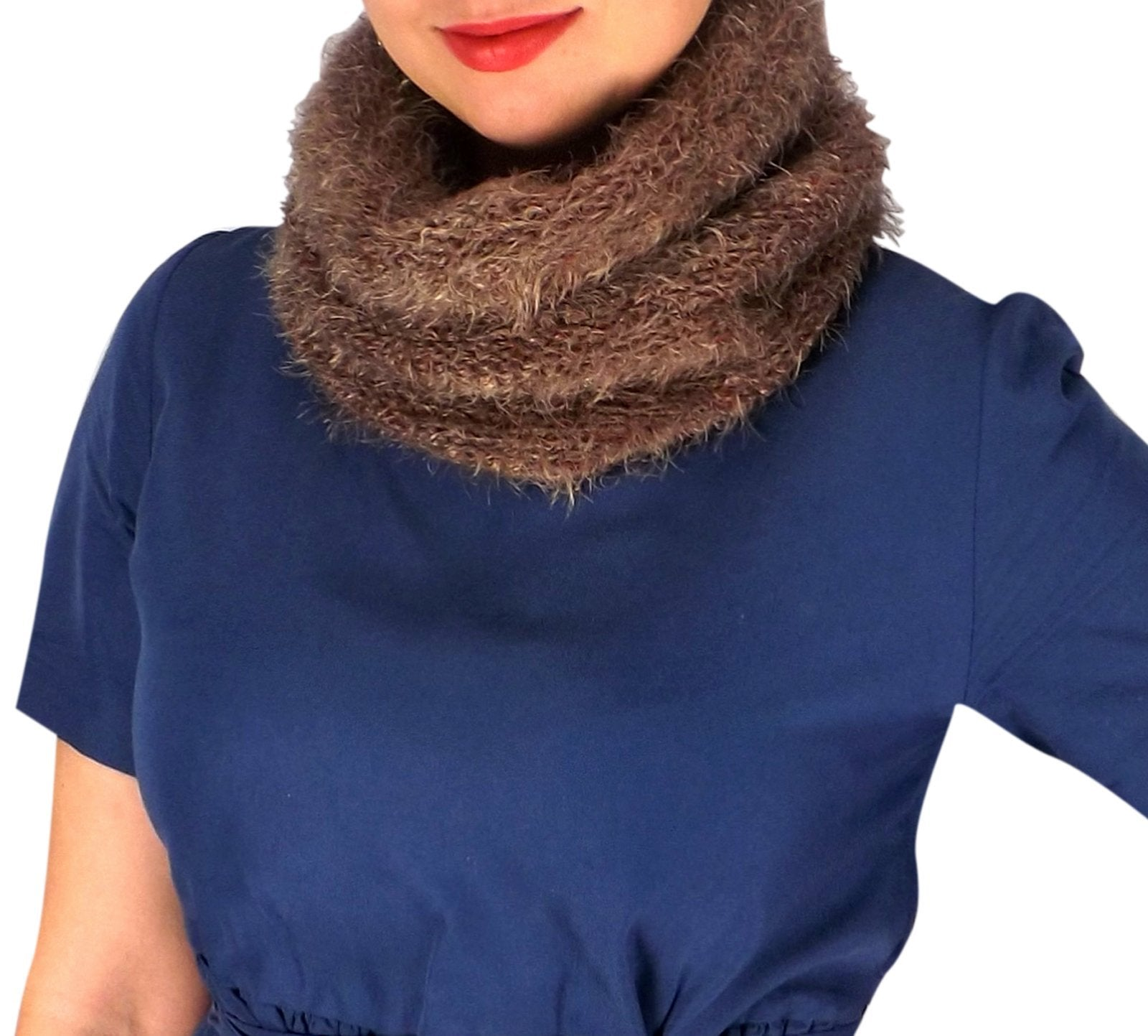 Double Layer Marled Knit Cowl Neck Infinity Loop
