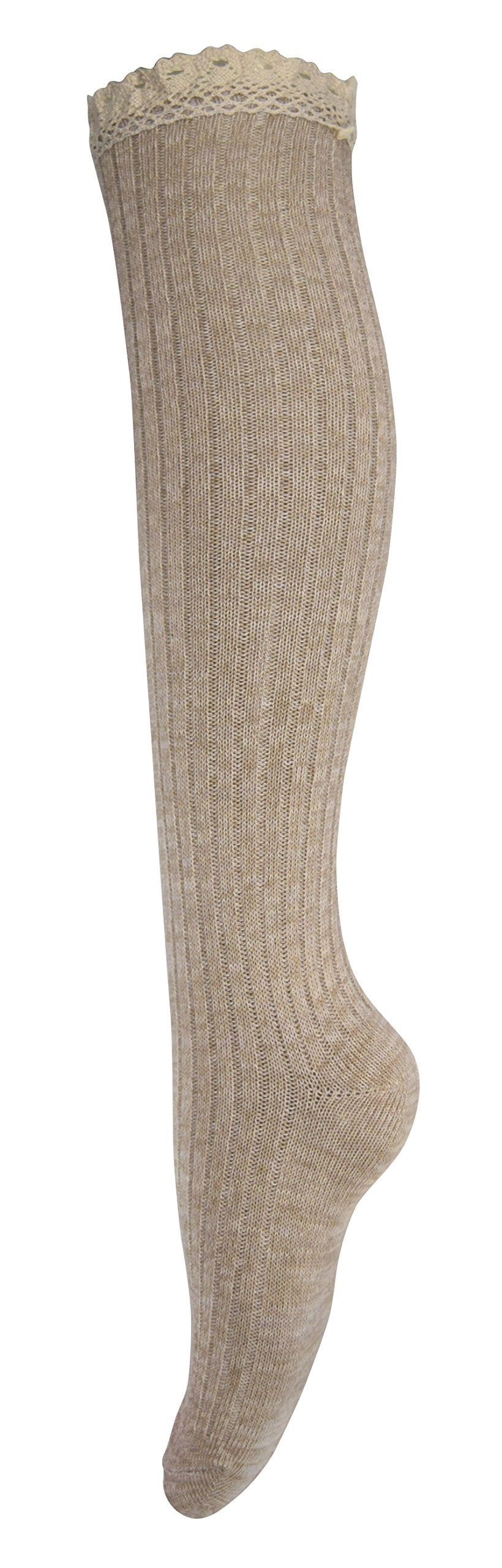 Lace Trimmed Warm Stylish Cotton Knit Knee High