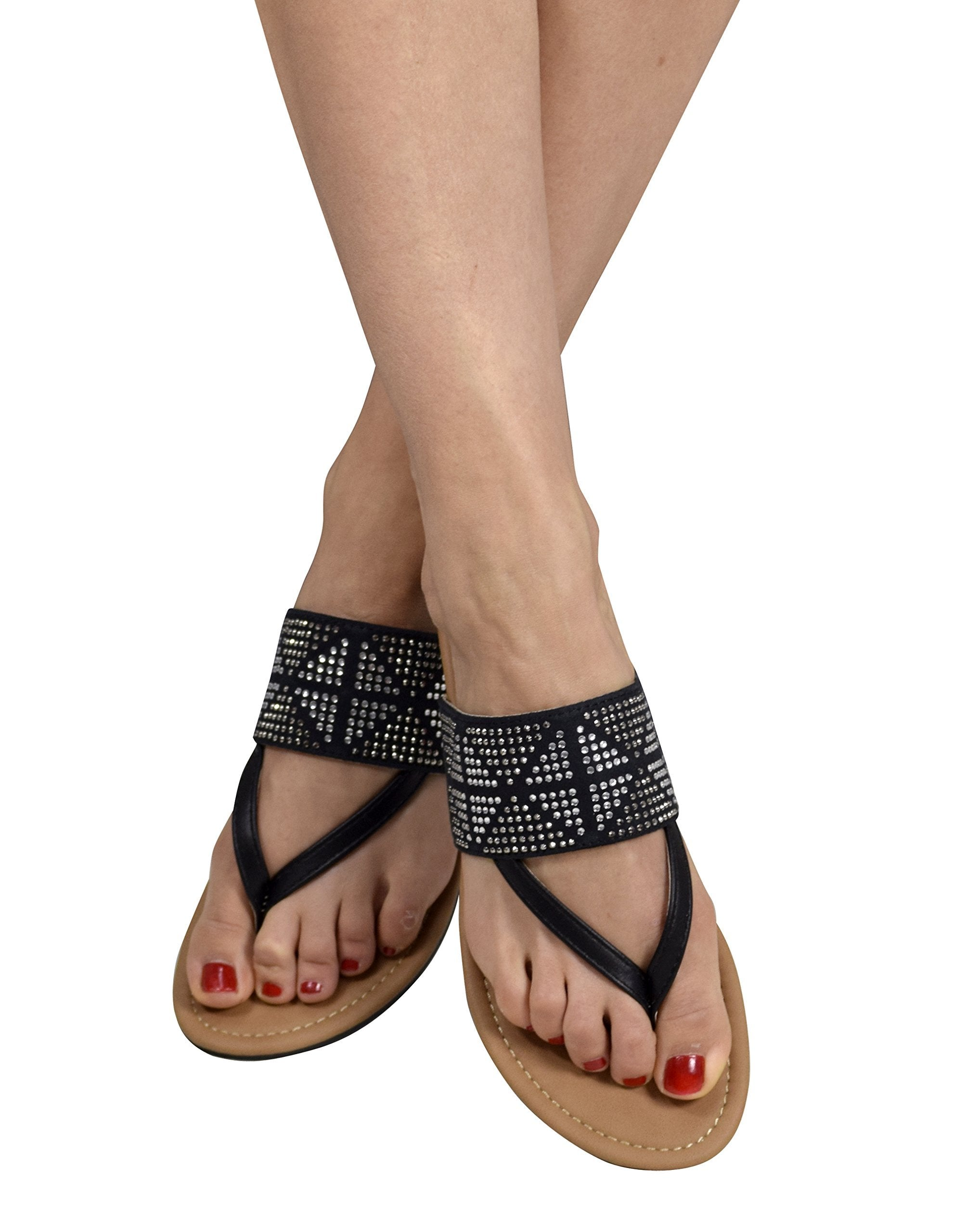 Womens Double Strap Pearl Studded Wide Band Slides
