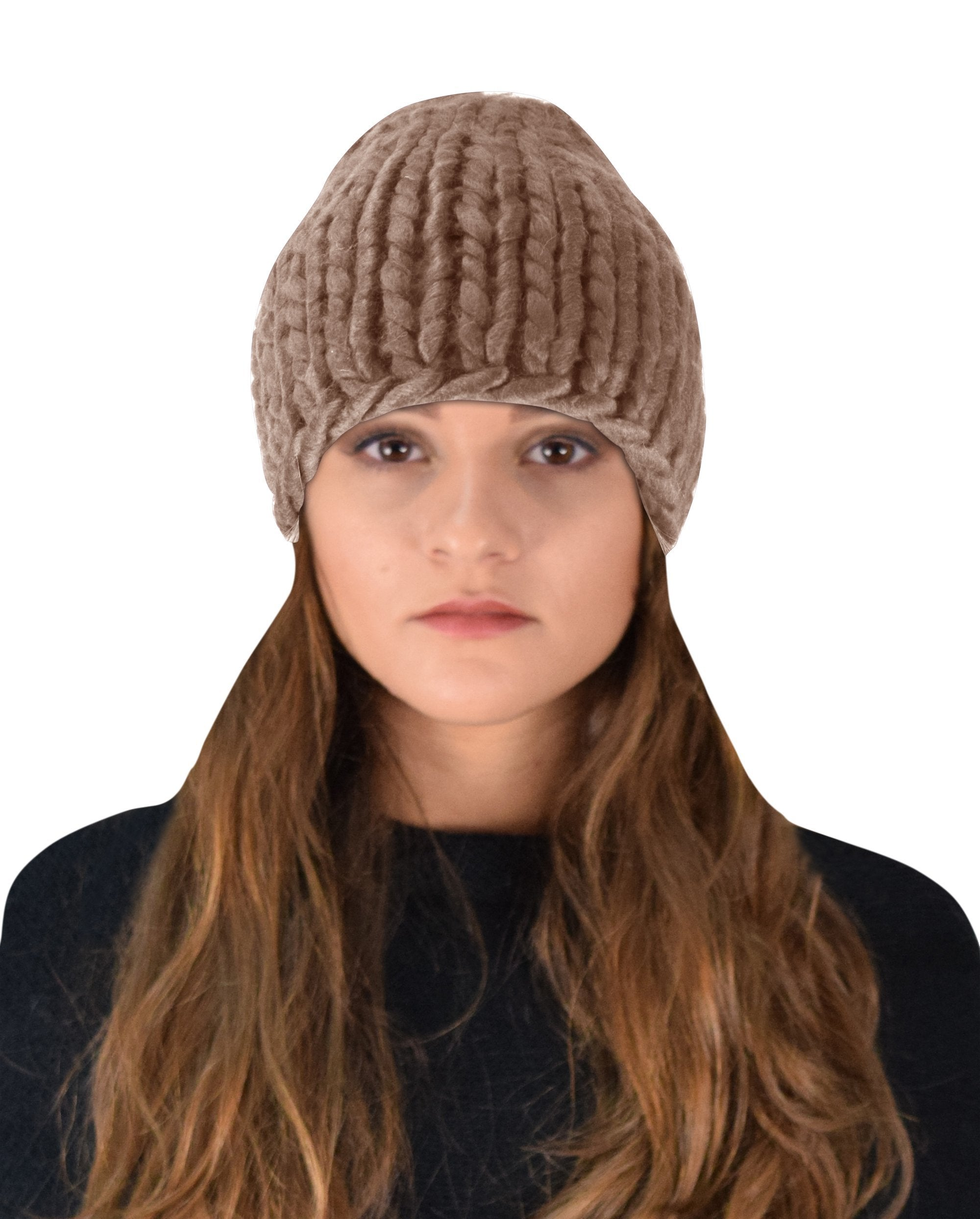 Thick Warm Soft Cable Knit Hat Beanie Slouchy