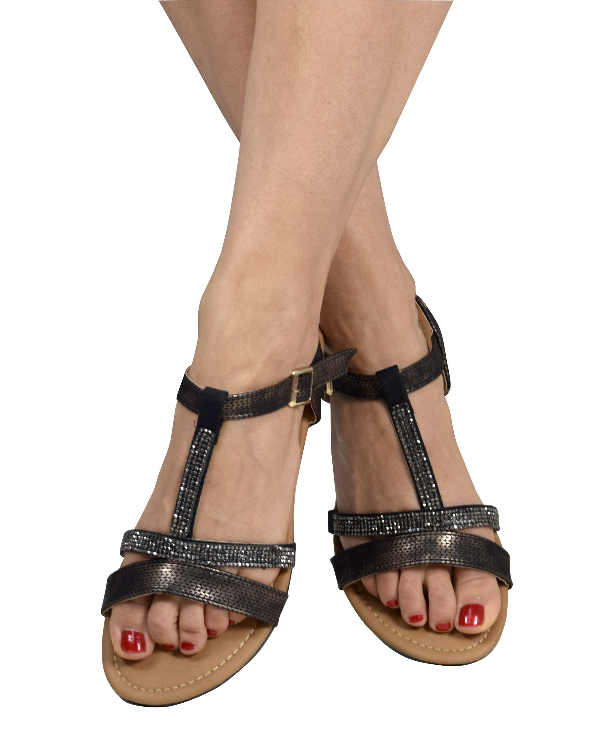 Womens Open Toe Strappy Ankle Buckle Gladiator