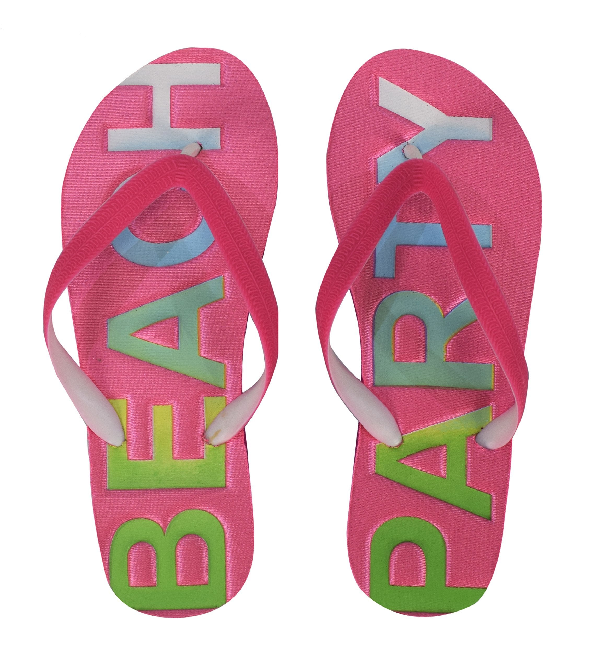 Womens Summer Beach Embossed Flip Flops Casual