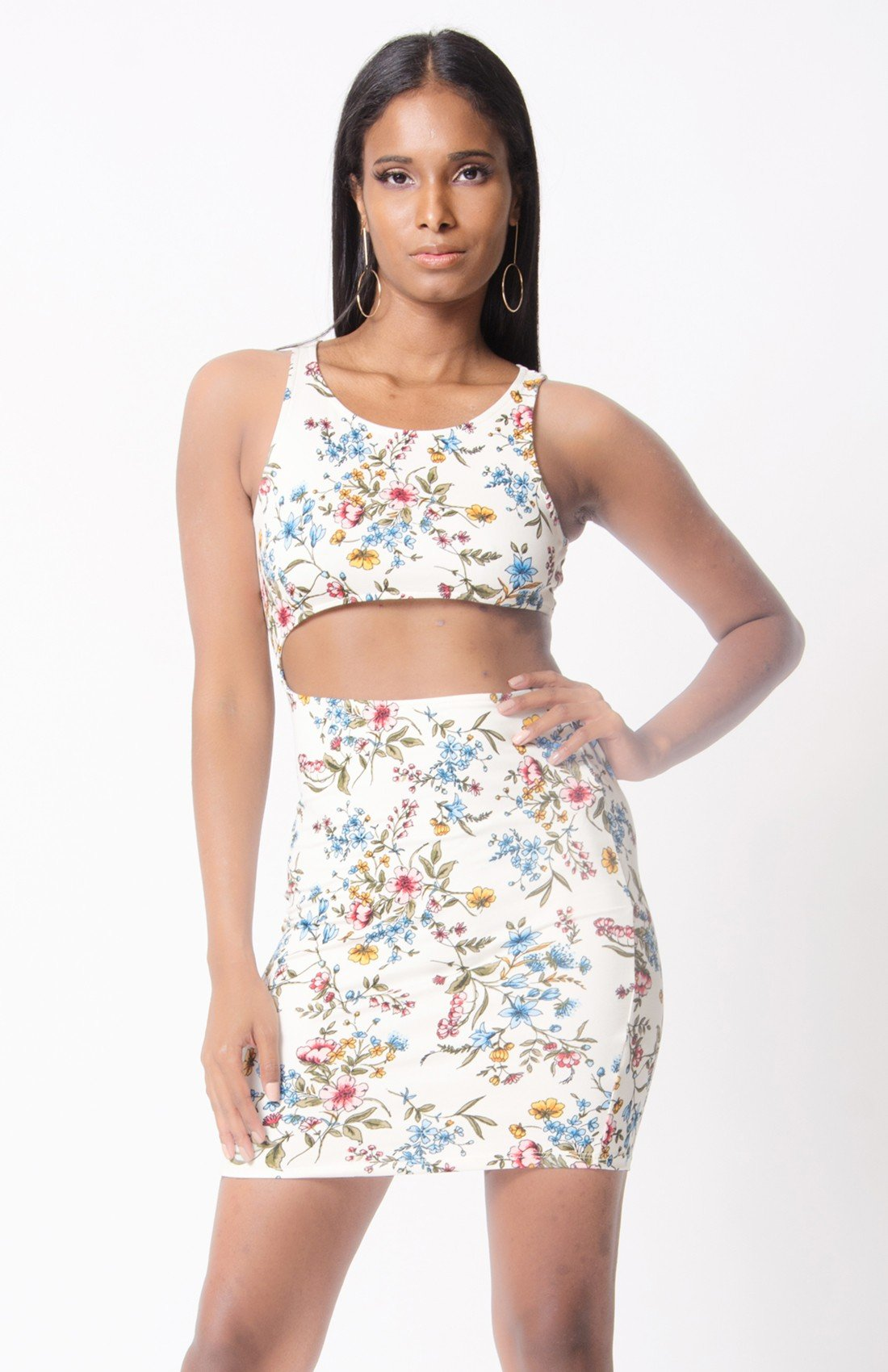 FLORAL PRINT CUTOUT BODY-CON DRESS