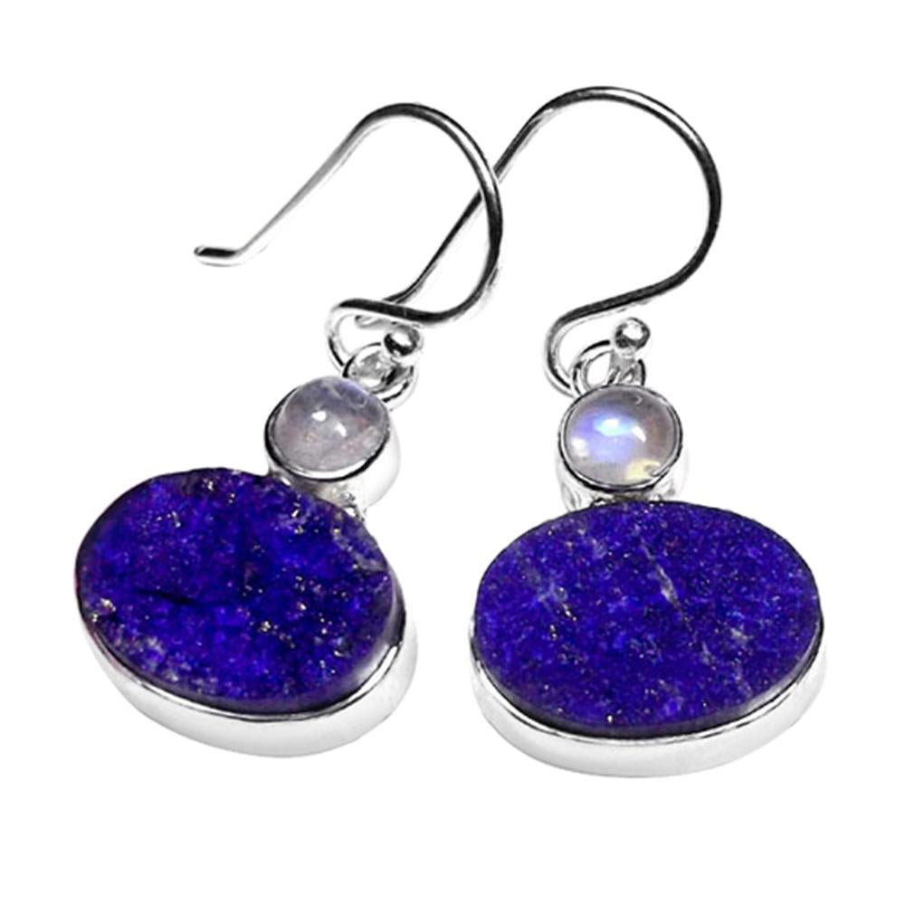 Trisha Lapis Lazuli + Rainbow Moonstone Earrings
