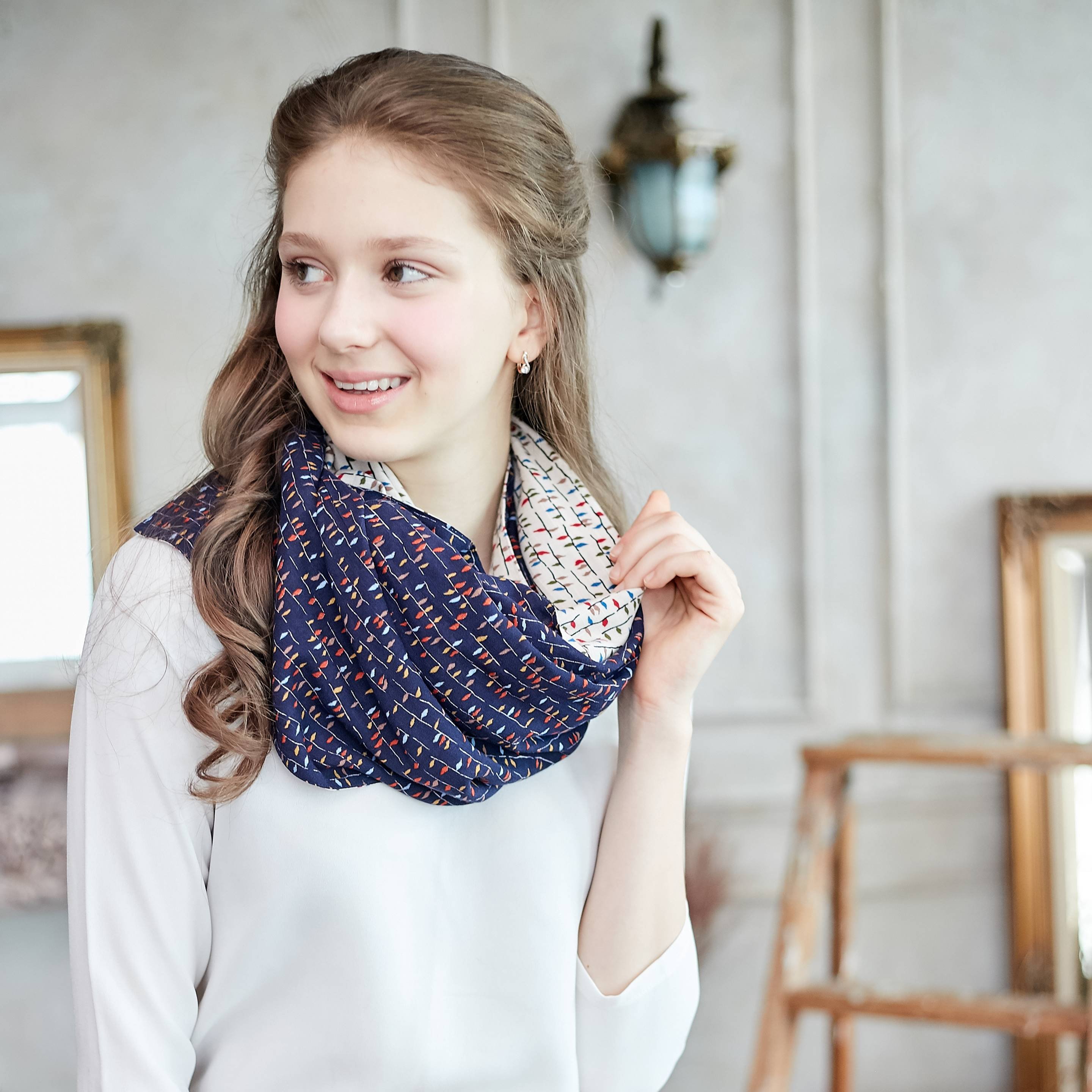 (Mommy & Me) Two Sides Cotton Colorful Scarf