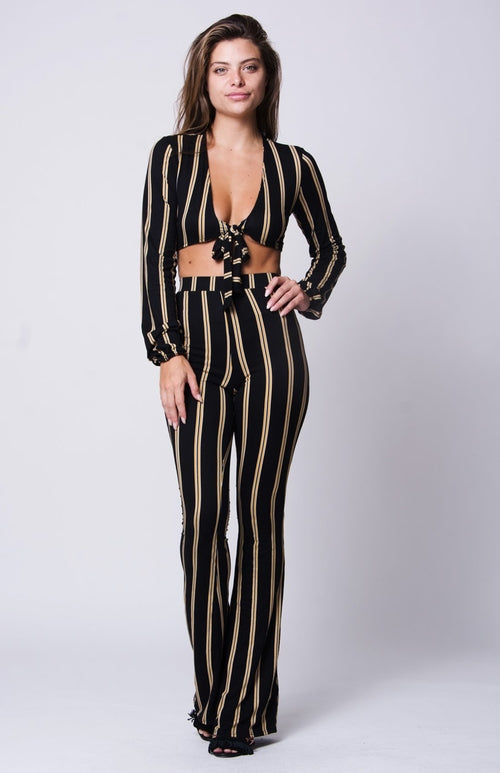 STRIPED PRINT WIDE LEGS PANTS SET