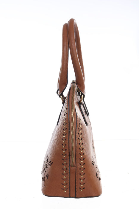 Joseph Ribkoff Cognac Perforated Faux Leather Bowler Bag 201244 NEW