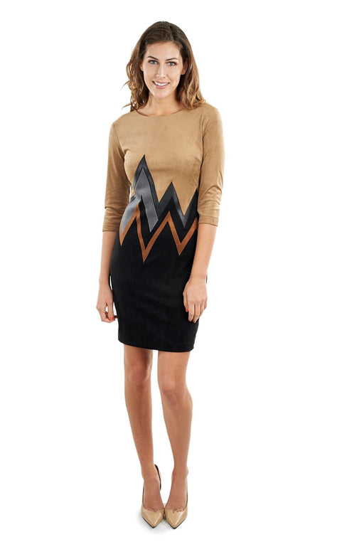 Joseph Ribkoff Beige/Black/Cognac Vegan Leather Chevron Applique Dress 164445X NEW